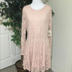 NWT Atar'd State Long Sleeve Pink Lace Dress L